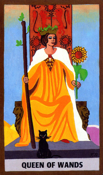 GOLDEN RIDER TAROT DECK - QUEEN OF WANDS